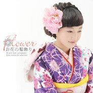振袖 お花髪飾り「ピンク色 お花と羽根、チェーン飾り付き