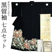 女性の第一礼装 黒留袖 結婚式 お仕立て上がり黒留袖セット「四季の花篭」
