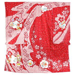 七五三四つ身着物単品「赤色 絞り型染め 花車、雪輪、鈴の刺繍」