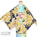 洗える 羽織単品「紺色 牡丹と鳥」京都きもの町オリジナル お仕立て上がり羽織