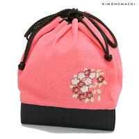 刺繍巾着「ピンク色 桜の輪刺繍」刺繍 ちりめん巾着