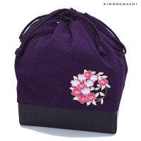 卒業式 袴 刺繍 巾着「紫色 桜の輪刺繍」袴巾着