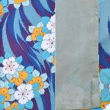 京都きもの町オリジナル二部式着物「青色流水に花」洗える着物レトロモダンMサイズ小紋柄<H>【メール便不可】