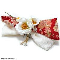 リボン髪飾り「白色リボン、白色のお花」
