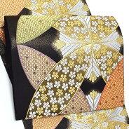 西陣織袋帯「黒色 輪繋ぎに唐松」振袖 正絹帯 未仕立て
