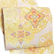 西陣織袋帯「生成り 七宝に華文」振袖 正絹帯 未仕立て