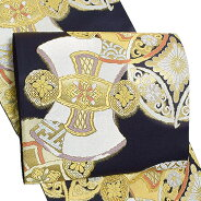 西陣織袋帯「黒色 七宝花菱、分胴」振袖 正絹帯 未仕立て