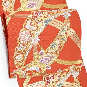 振袖袋帯「朱赤色 露芝に唐草」振袖 西陣織 振袖帯 六通柄 未仕立て