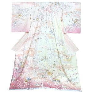 未仕立て 訪問着単品「ピンク 加賀 雪輪しだれ桜」未仕立て