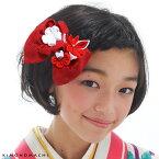 髪飾り 卒業式 袴 リボン 髪飾り 赤 「レッド」お花髪飾り レトロ 袴髪飾り つまみ細工髪飾り