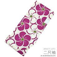 洗える着物 二尺袖単品「紫色×生成り 捻じ梅」
