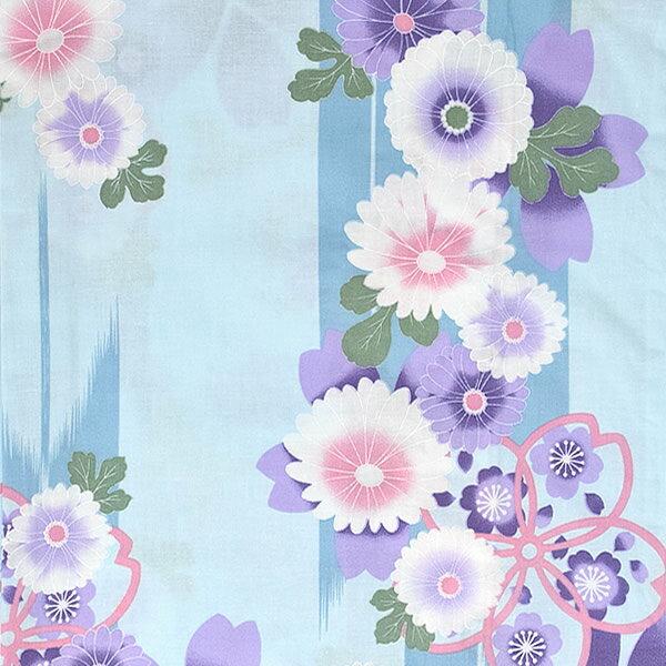 女性 浴衣単品「水色 矢絣に菊、桜」綿浴衣 プ...の紹介画像2
