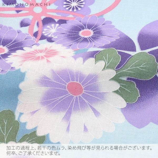 女性 浴衣単品「水色 矢絣に菊、桜」綿浴衣 プ...の紹介画像3