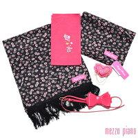 メゾピアノ小物セット「黒色×ピンク 薔薇とハート」