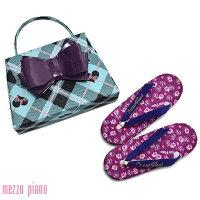 メゾピアノ 草履バッグセット「パープル×水色」草履サイズ22.5cm