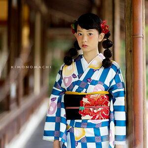 京都きもの町オリジナル 洗える着物単品「青色格子に椿」