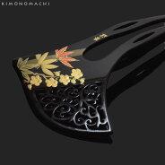 銀杏型 かんざし「笹竹と梅」礼装簪