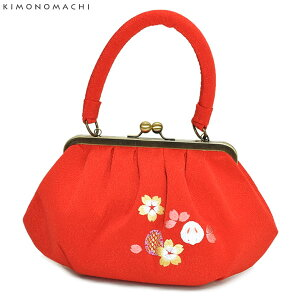がま口 バッグ単品「赤色 うさぎ、桜の刺繍」刺繍バッグ