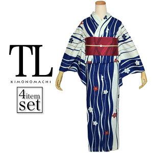 TLサイズ浴衣セット「青色 ゆらぎ縞に桜」