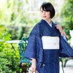 絽 夏着物「紺色 麻の葉にゆらぎ縞、鈴」M、L プレタ着物 洗える着物