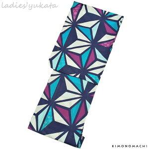 変わり織り 女性浴衣単品「パープル×ブルー 麻の葉」フリーサイズ