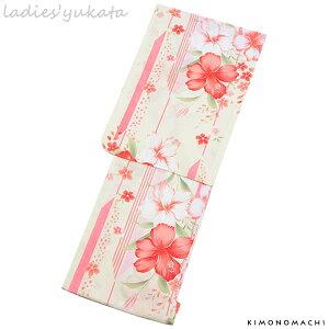 変わり織り 女性浴衣単品「クリーム 矢羽根縞にハイビスカス」フリーサイズ