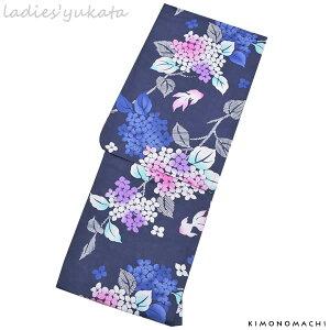 変わり織り 女性浴衣単品「濃紺色 紫陽花と金魚」フリーサイズ