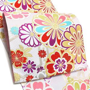 振袖 袋帯「ピンク 亀甲に菊花、桜」未仕立て 正絹帯 西陣織