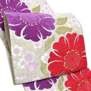 振袖 袋帯「赤紅、紫色 桜」未仕立て 六通柄 正絹帯 IKKO