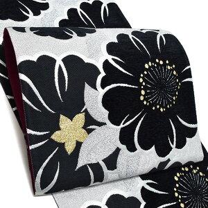 振袖 袋帯「黒×シルバー 桜」未仕立て 六通柄 正絹帯 袋帯