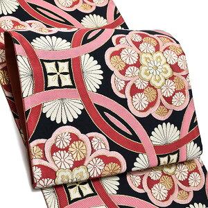 振袖 袋帯「黒×ラズベリー 輪繋ぎに華文」未仕立て 六通柄 正絹帯 袋帯
