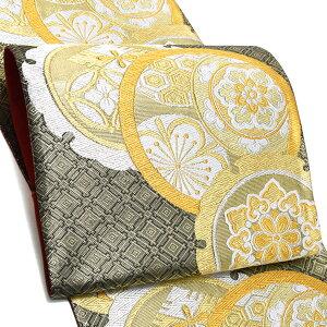 振袖 袋帯「ゴールド×黒色 雪輪、丸文」未仕立て 正絹帯 西陣織 振袖帯