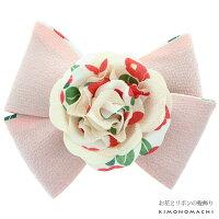 リボン髪飾り「ピンク リボンとお花」