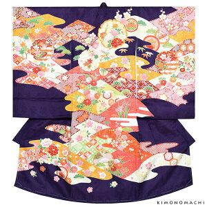 女の子のお宮参り着物 祝い着(熨斗目)「紫色 雪輪」八重 お宮参り