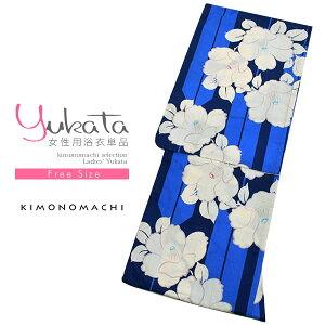 女性 浴衣単品「紺×青色 矢羽根に椿」綿浴衣 綿 お仕立て上がり