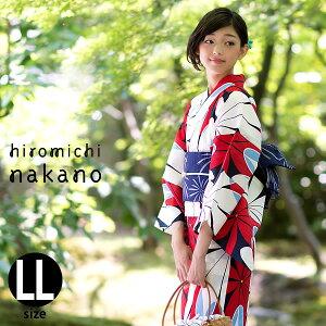 女性 浴衣「赤×白色 縞に花」2Lサイズ