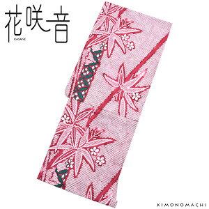 女性 浴衣「赤色 鹿の子絞り風 笹」変わり織 綿 お仕立て上がり