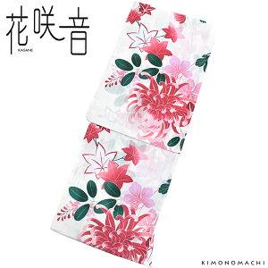 女性 浴衣「白×赤色 菊花」変わり織