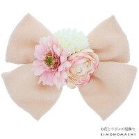 リボン 髪飾り「ピンク色のお花、リボン」