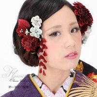 振袖 髪飾り2点セット「赤色系のお花、つまみのお花」
