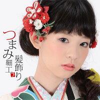 振袖 髪飾り2点セット「赤色系の小花、つまみのお花」