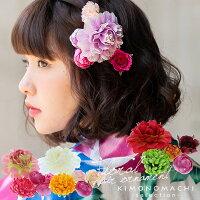 お花 髪飾り5点セット「レッド、ホワイト、ピンク」