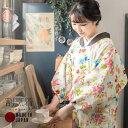 ロング丈 割烹着「フラワー」日本製 オシャレ かわいい 綿割烹着 【メール便対応可】