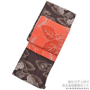 京都きもの町オリジナル 袷着物セット「紺色格子に椿」洗える着物セット 洒落着 京袋帯、小物がついたセット ポリエステル着物