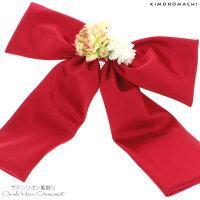 リボン 髪飾り「ラズベリーピンク色サテンリボン、お花」お花髪飾り