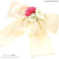 リボン 髪飾り「白色サテンリボン、お花」お花髪飾り