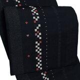 お仕立て上がり 京袋帯「黒色 トランプ」全通柄 カジュアル帯 洒落帯 袋名古屋帯