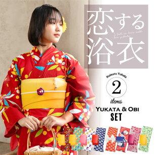 【送料無料】レディース浴衣セット3,980円 選べる浴衣大人柄系全17柄と帯の2点セット