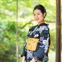 変わり織り 浴衣単品「黒色 紫陽花と金魚...