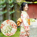 京都きもの町オリジナル 浴衣単品「赤×緑 萩」S、フリー、TL、LL レトロ 女性浴衣 花火大会、夏祭り、夏フェスに 【メール便不可】
